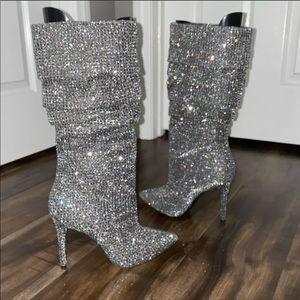 Jessica Simpson Layzer pewter rhinestone boot sz 8